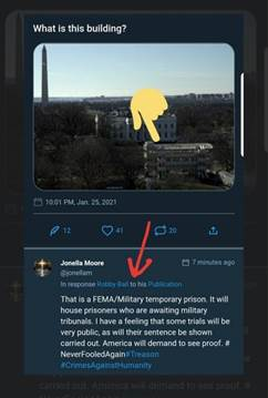 Kan een afbeelding zijn van lucht en de tekst 'What is this building? 10:01PM,Jan.25,2021 2021 10:01 PM, Jonella Moore @jonellam In response Robby Ball 67minutes 7minutesago ago That is FEMA/Military temporary prison. It will house prisoners who are awaiting military tribunals. have feeling that some trials will be very public, as will their sentence be shown carried out. America will demand to see proof. # NeverFooledAgain reason #CrimesAgainstHumanity'