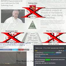 Kan een afbeelding zijn van 1 persoon en de tekst 'REPORTS: Pope arrested on 80 Û for Child Trafficking, Fraud Vatican City ARRESTED Agenda 2030 Roman Law Fire alarm sounds at Houses of Parliament 'smoke' seen rising 1ui building LONDON's Houses scene an thought they couldsee alarm sounding Westminster Bridge. Washington D.C. BROWN The City of London WallstreetNY Jesuits *Illuminati' Knights Templar Knights Malta 32°+ Freemasons Religion Societies Washington Monument Out, National Park Service Investigating Military, 1:44am Share Money Delta Finance next: 37D_2:18:54 (seconds total: 3205134) 1690 Tank Archive Bread/Post Links: Direct Link: D:a4b4d3 You witnessing/ watching the systematic destruction Po of GUARD. POWER WILL RETURN Q THE PEOPLE.'